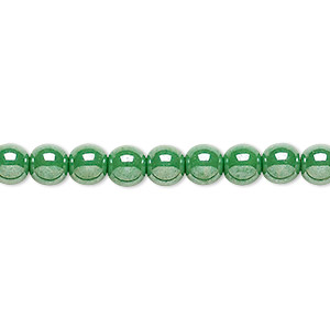 bead, czech glass druk, opaque green luster, 6mm round. sold per 16-inch strand.