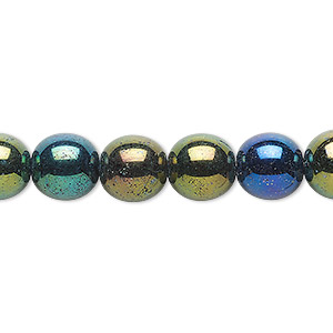 bead, czech glass druk, opaque iris green, 10mm round. sold per 16-inch strand.