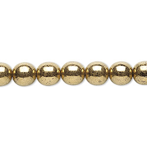 bead, czech glass druk, opaque light bronze, 8mm round. sold per 16-inch strand.