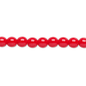 bead, czech glass druk, opaque red, 6mm round. sold per 16-inch strand.