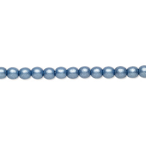 bead, czech glass druk, opaque satin blue, 4mm round with 0.8-1mm hole. sold per 16-inch strand.