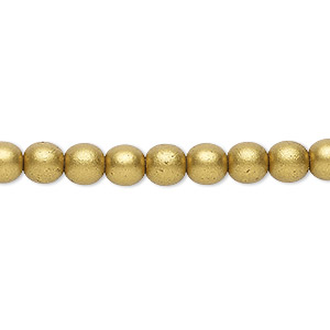 bead, czech glass druk, opaque satin bronze, 6mm round with 0.7-1.1mm hole. sold per 16-inch strand.