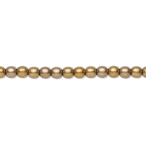 bead, czech glass druk, opaque satin bronze tone, 4mm round with 0.8-1mm hole. sold per 16-inch strand.