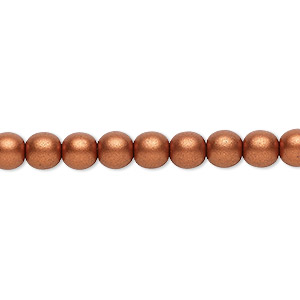bead, czech glass druk, opaque satin copper, 6mm round. sold per 16-inch strand, approximately 65 beads.
