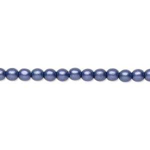 bead, czech glass druk, opaque satin dark purple, 4mm round with 0.8-1mm hole. sold per 16-inch strand.