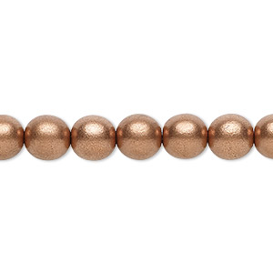 bead, czech glass druk, opaque satin light copper, 8mm round with 0.8-1.3mm hole. sold per 16-inch strand.