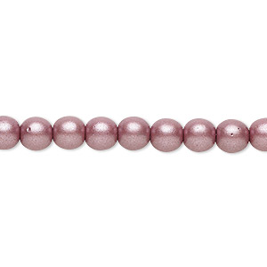 bead, czech glass druk, opaque satin mauve, 6mm round with 0.7-1.1mm hole. sold per 16-inch strand.