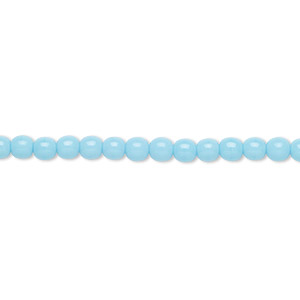 bead, czech glass druk, opaque turquoise blue, 4mm round. sold per 16-inch strand.