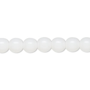 bead, czech glass druk, opaque white, 8mm round. sold per 16-inch strand.