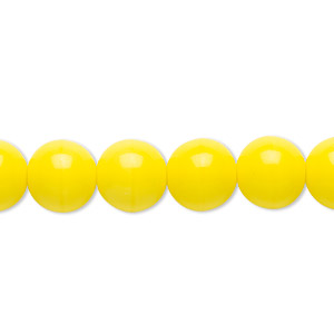 bead, czech glass druk, opaque yellow, 10mm round. sold per 16-inch strand.