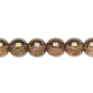 bead, czech glass druk, translucent copper luster, 10mm round. sold per 16-inch strand.