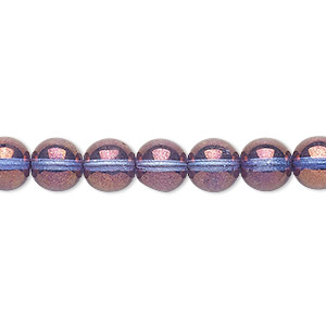bead, czech glass druk, translucent lilac luster, 8mm round. sold per 16-inch strand.