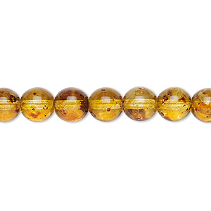 bead, czech glass druk, translucent tortoise luster, 8mm round. sold per 16-inch strand.