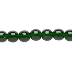 bead, czech glass druk, transparent emerald green, 8mm round. sold per 16-inch strand.