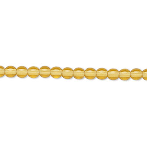 bead, czech glass druk, transparent honey, 4mm round. sold per 16-inch strand.