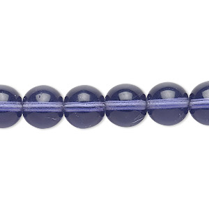 bead, czech glass druk, transparent lilac, 10mm round. sold per 16-inch strand, approximately 40 beads.