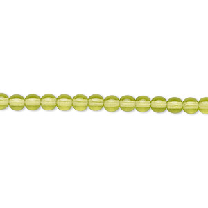 bead, czech glass druk, transparent olivine, 4mm round. sold per 16-inch strand.