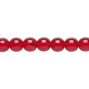 bead, czech glass druk, transparent ruby red, 8mm round. sold per 16-inch strand, approximately 50 beads.