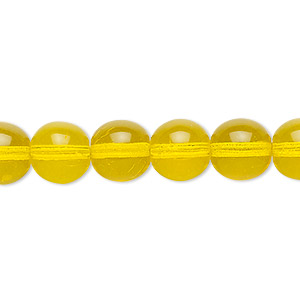 bead, czech glass druk, transparent yellow, 10mm round. sold per 16-inch strand.