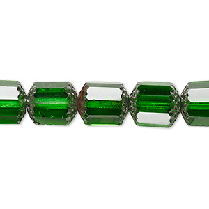 bead, czech glass, emerald green and metallic emerald green, 10mm round cathedral. sold per 16-inch strand.