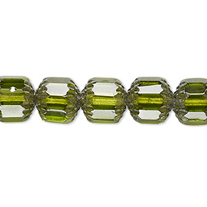 bead, czech glass, olive and metallic silver, 10mm round cathedral. sold per 16-inch strand, approximately 40 beads.