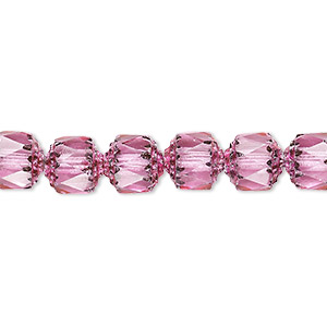 bead, czech glass, pink and metallic pink, 8mm round cathedral. sold per 16-inch strand.