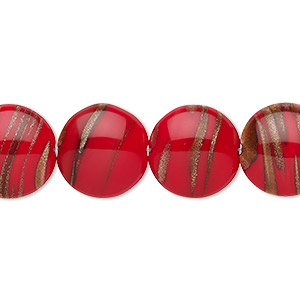 bead, czech glass, red and gold, 14mm puffed flat round with flecks. sold per 8-inch strand, approximately 10 beads.
