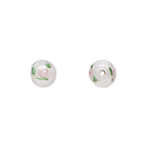 bead, czech glass, white with flowers, 6mm round. sold per pkg of 10.