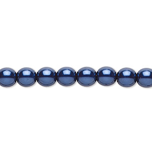 bead, czech pearl-coated glass druk, dark blue, 6mm round. sold per 16-inch strand.