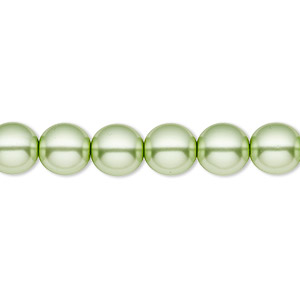 bead, czech pearl-coated glass druk, light green, 8mm round with 0.8-1.3mm hole. sold per 16-inch strand.