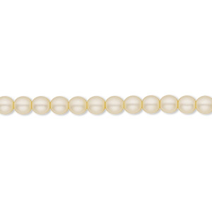 bead, czech pearl-coated glass druk, matte cream, 4mm round with 0.8-1mm hole. sold per 16-inch strand.