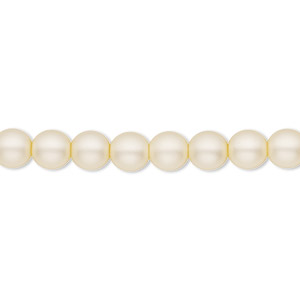 bead, czech pearl-coated glass druk, matte cream, 6mm round with 0.7-1.1mm hole. sold per 16-inch strand.