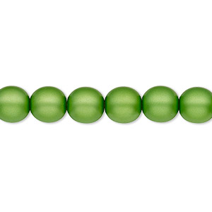 bead, czech pearl-coated glass druk, matte green, 8mm round with 0.8-1.3mm hole. sold per 16-inch strand.