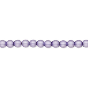 bead, czech pearl-coated glass druk, matte lavender, 4mm round with 0.8-1mm hole. sold per 16-inch strand.