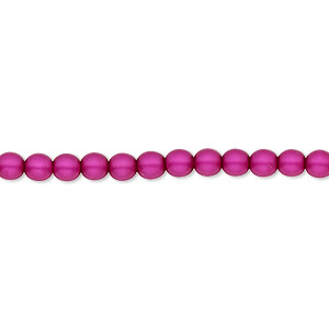 bead, czech pearl-coated glass druk, matte magenta, 4mm round with 0.8-1mm hole. sold per 16-inch strand.