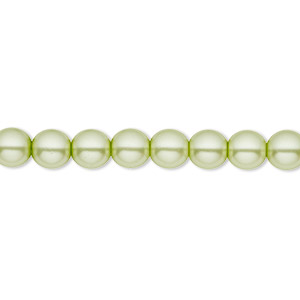 bead, czech pearl-coated glass druk, mint green, 6mm round with 0.7-1.1mm hole. sold per 16-inch strand.