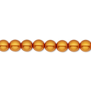 bead, czech pearl-coated glass druk, orange-gold, 6mm round with 0.7-1.1mm hole. sold per 16-inch strand.