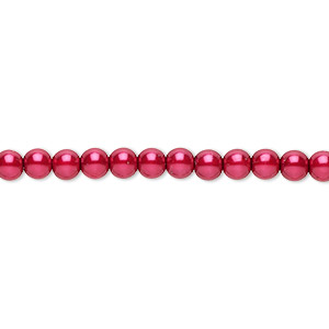 bead, czech pearl-coated glass druk, red, 4mm round. sold per 16-inch strand.