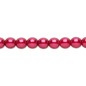 bead, czech pearl-coated glass druk, red, 6mm round. sold per 16-inch strand.