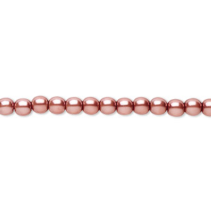 bead, czech pearl-coated glass druk, rose, 4mm round. sold per 16-inch strand.