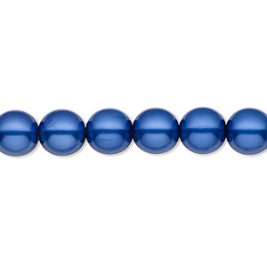 bead, czech pearl-coated glass druk, royal blue, 8mm round with 0.8-1.3mm hole. sold per 16-inch strand.