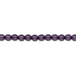 bead, czech pearl-coated glass druk, royal purple, 4mm round with 0.8-1mm hole. sold per 16-inch strand.