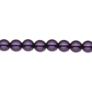 bead, czech pearl-coated glass druk, royal purple, 6mm round with 0.7-1.1mm hole. sold per 16-inch strand.