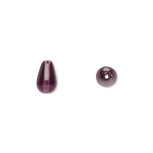 bead, czech pressed glass, amethyst purple, 9.5x6mm teardrop. sold per 16-inch strand, approximately 40 beads.