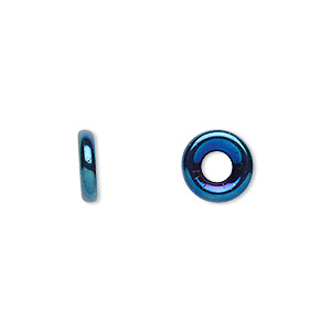 bead, czech pressed glass, iris blue, 9.5x3mm ring with 3.5mm hole. sold per pkg of 50.