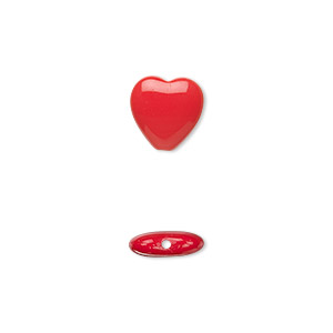 bead, czech pressed glass, opaque red, 10x9.5mm heart. sold per 16-inch strand, approximately 45 beads.
