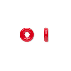bead, czech pressed glass, opaque red, 8x2.5mm ring with 2.5mm hole. sold per pkg of 50.