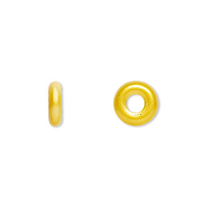 bead, czech pressed glass, opaque sunflower, 9.5x3mm ring with 3.5mm hole. sold per pkg of 50.
