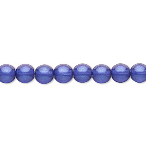bead, czech pressed glass, pearlized dark blue, 6mm round. sold per 16-inch strand, approximately 65 beads.