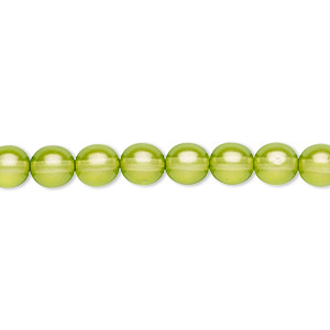 bead, czech pressed glass, pearlized green, 6mm round. sold per 16-inch strand, approximately 65 beads.